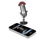 Mobile Phone as Voice Recorder with Microphone Stock Photography