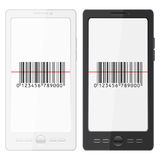 Mobile phone and bar code. Mobile phone with bar code scanner on a white background Royalty Free Stock Image