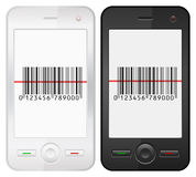Mobile phone and bar code. Mobile phone with bar code scanner on a white background Stock Photo