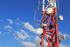 Mobile phone base station. With background of blue sky Royalty Free Stock Photos