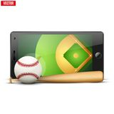 Mobile phone with baseball ball and field on the Royalty Free Stock Photo