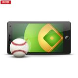 Mobile phone with baseball ball and field on the Royalty Free Stock Photography