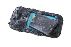 Mobile phone battery explodes and burns due to overheat danger of using smart phone Royalty Free Stock Image