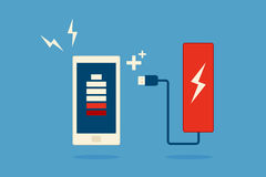 Mobile phone and battery icon design. Stock Images