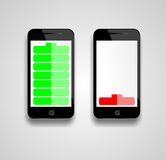Mobile phone battery indicater Stock Photos