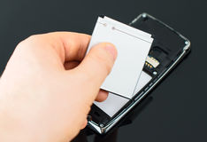 Mobile phone battery. Royalty Free Stock Image