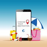 Mobile phone with beach stuff and choose your destination messag Royalty Free Stock Images