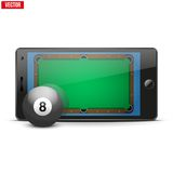 Mobile phone with billiard ball and field on the Royalty Free Stock Image
