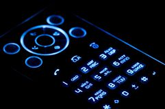 Mobile phone on black Stock Photography