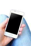 Mobile phone with black screen isolated over white Royalty Free Stock Images