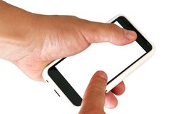 Mobile phone with blank screen in a man's hand. Royalty Free Stock Image