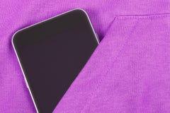 Mobile phone with blank screen in pocket sweatshirt, smartphone Stock Photo