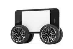 Mobile Phone with Blank Screen on Wheels Stock Photo