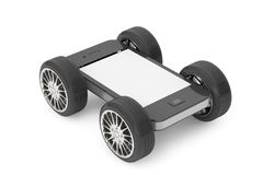 Mobile Phone with Blank Screen on Wheels Stock Photos