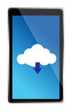 Mobile phone with blue cloud computing icon Royalty Free Stock Photos