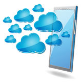 Mobile phone with blue cloud computing icons Royalty Free Stock Photography