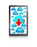 Mobile phone with blue cloud and red arrow Royalty Free Stock Photos
