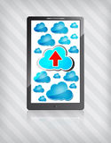 Mobile phone with blue clouds and red arrow Royalty Free Stock Photography