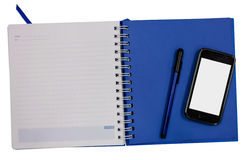 Mobile phone blue diary book  isolate background Royalty Free Stock Photo