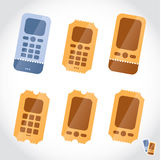Mobile Phone Booking Online Tickets Icons, Button, Royalty Free Stock Photo