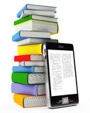Mobile phone and books Royalty Free Stock Images