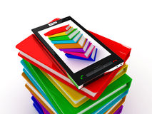 Mobile phone and books. 3D render Stock Photos