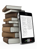 Mobile phone and books Stock Photo