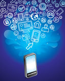 Mobile phone with bright social media icons Stock Photos