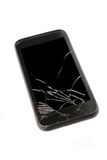 Mobile phone with the broken display. Old mobile phone with the broken screen stock images