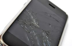 Broken screen. Mobile phone with broken screen royalty free stock photography