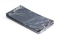 Mobile phone with broken screen. On white background stock photography