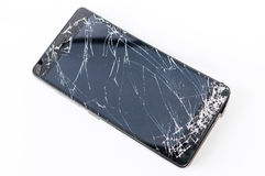 Mobile phone with broken screen royalty free stock photography