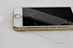 Mobile phone. With broken touchscreen stock photography