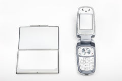 Mobile phone and card holder Stock Photography