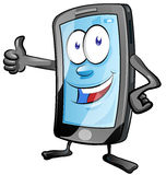 Mobile phone cartoon. Fun mobile phone cartoon with  thumbs up Royalty Free Stock Photography