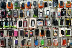 Mobile Phone Cases. Street vendor selling colorful and divers mobile phone cases, during the Maspeth 2012 Street Fair Royalty Free Stock Image