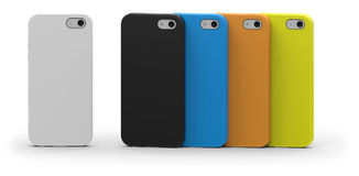 Mobile phone cases. Isolated on white Stock Images