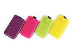 Mobile phone cases. Isolated on white background Stock Images