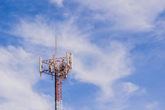 Mobile phone or cell phone tower. With cloudy sky background Royalty Free Stock Photo