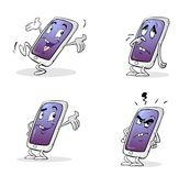 Mobile phone charachter. Cellphone cartoon character with four different emotions stock illustration