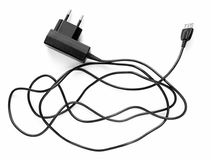 Mobile phone charger. On a white background Stock Images