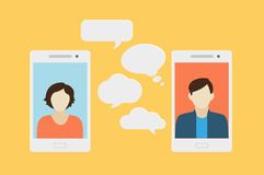 Mobile phone chat. Concept of a mobile chat or conversation of people via mobile phones. Can be used to illustrate globalization, connection, phone calls or Royalty Free Stock Photos