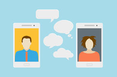 Mobile phone chat. Concept of a mobile chat or conversation of people via mobile phones. Can be used to illustrate globalization, connection, phone calls or Stock Photos
