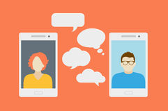 Mobile phone chat Stock Photography