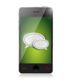 Mobile phone with chat icons illustration Royalty Free Stock Image
