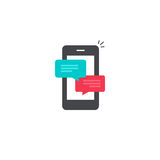 Mobile phone chat message notifications vector icon, smartphone chatting bubble speeches, online talking, messaging royalty free illustration
