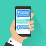 Mobile phone chat message notifications vector isolated on color background, hand with smartphone and chatting bubble. Speeches, concept of online talking royalty free illustration