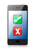 Mobile phone with check and x marks selection Stock Photos