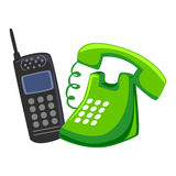 Mobile Phone and Chord Telephone. Vector Illustration of Mobile Phone and Chord Telephone vector illustration