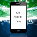 Mobile phone with christmas background. Mobile phone with green blue christmas background Vector Illustration